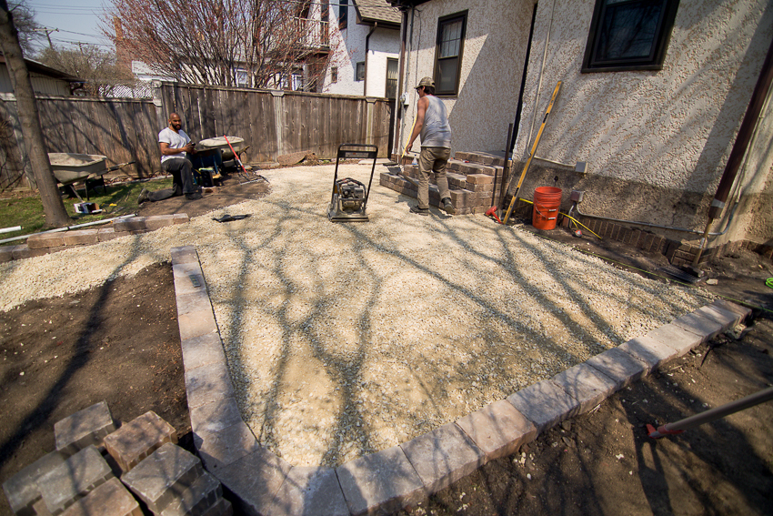 Once The Crushed Limestone Base Material Is Graded To Perfection And After  The Supporting Retaining Walls Are Built, Its Time To Finally Add The  Pavers!